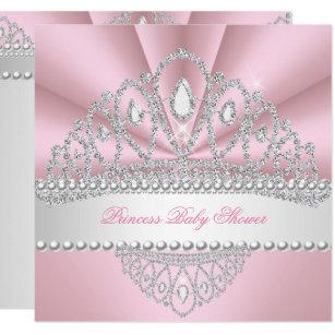 Princess Pink Pearls Diamond Tiara Baby Shower Invitation