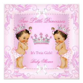 Princess Pink Pearls Twin Baby Shower Tiara BR Card