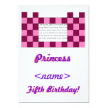 Princess Pink/Pink Castle Fifth Birthday Party Inv 5x7 Paper Invitation Card