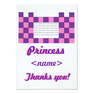 Princess Pink/Purple Castle Second Birthday Thank  5x7 Paper Invitation Card