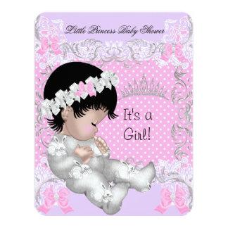 Princess Pink Purple Gray Baby Shower Cute Girl 3 4.25x5.5 Paper Invitation Card