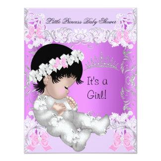 Princess Pink Purple Gray Baby Shower Cute Girl 4.25x5.5 Paper Invitation Card