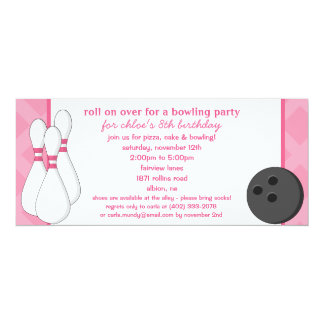 Princess Pink Roll on Over Bowling Birthday Party 4x9.25 Paper Invitation Card