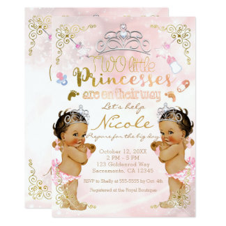Princess Pink Sparkle Twin Girls Baby Shower Card