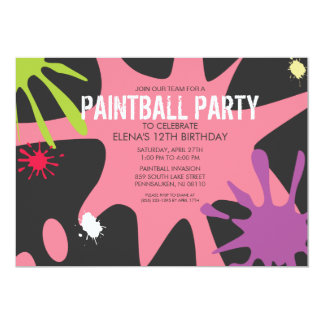 "Princess Pink Split Splat Custom Paintball Party 5"" X 7"" Invitation Card"
