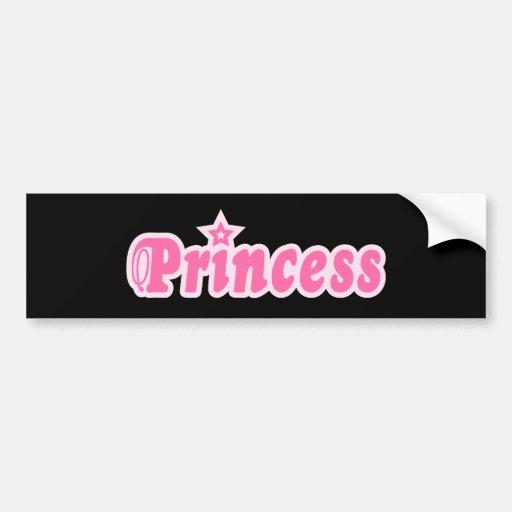 Princess pink text design on black car bumper sticker