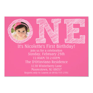 Princess Pink The Big One Photo First Birthday 5x7 Paper Invitation Card