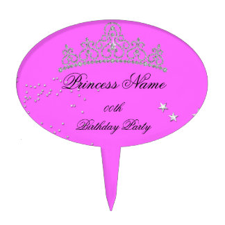 Princess Pink Tiara Add Age Birthday Party Cake Topper