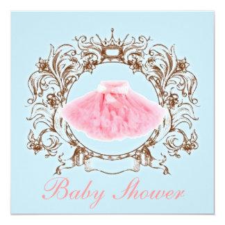 "Princess Pink tutu Girl Baby Shower Invitation 5.25"" Square Invitation Card"