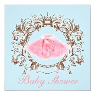 Princess Pink tutu Girl Baby Shower Invitation