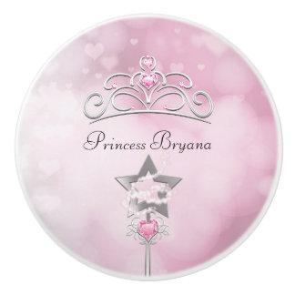 Princess Pink Wand & Crown Royal Bedroom Dresser Ceramic Knob