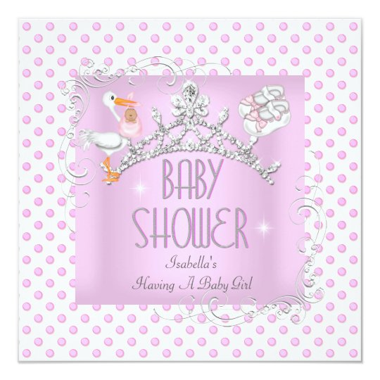 Princess Pink White Baby Shower Girl Tiara Card