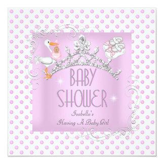 "Princess Pink White Baby Shower Girl Tiara 5.25"" Square Invitation Card"