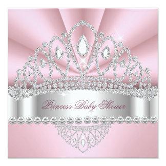 """Princess Pink White Diamond Tiara Baby Shower 5.25"""" Square Invitation Card"""