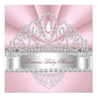 Princess Pink White Diamond Tiara Baby Shower Invitation