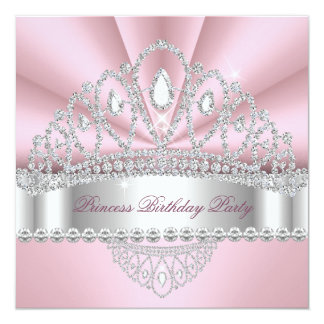 Princess Pink White Diamond Tiara Birthday Party Card