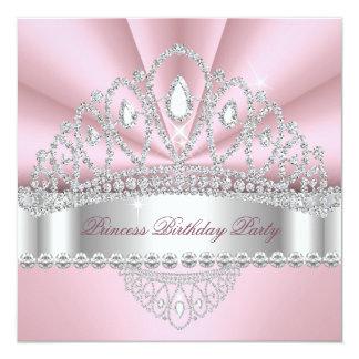 Princess Pink White Diamond Tiara Birthday Party Card