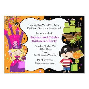 Princess and pirate invitations zazzle princess pirate halloween birthday invitations filmwisefo