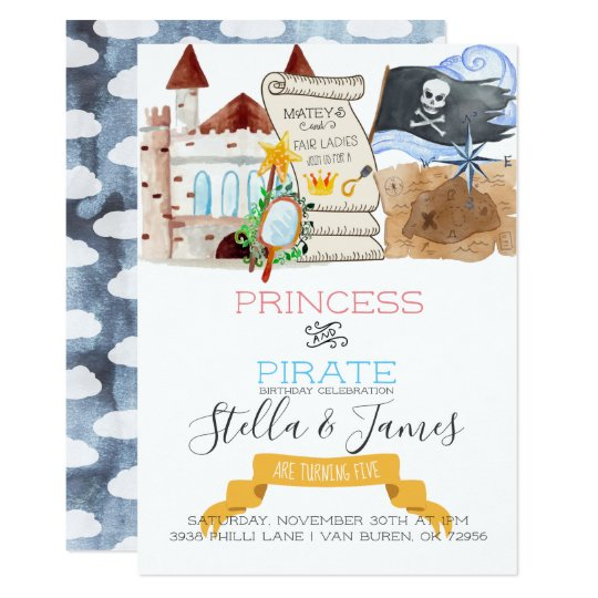 Princess pirate joint birthday party invitation zazzle princess pirate joint birthday party invitation filmwisefo