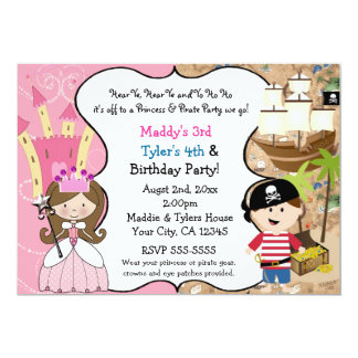 "Princess & Pirate Party Invitations Brown Hair 5"" X 7"" Invitation Card"