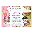 Princess & Pirate Party Invitations Brown Hair
