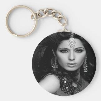 Princess Portraits Keychain-B/W Basic Round Button Keychain