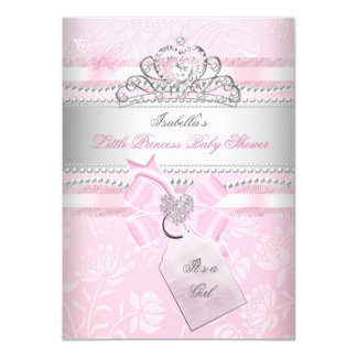 Princess Pretty Baby Shower Girl Butterfly Heart Card