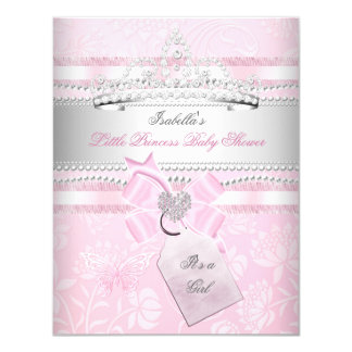 Princess Pretty Baby Shower Girl Butterfly 4.25x5.5 Paper Invitation Card