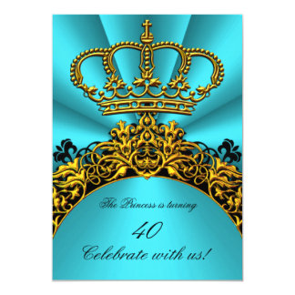 Princess Prince King Queen Gold Teal Birthday Card