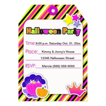 Halloween Themed Princess Pumpkin Neon Halloween Party - Card