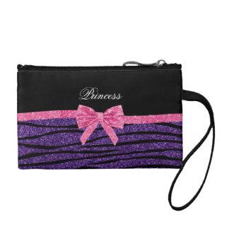 Princess purple glitter zebra stripes pink bow coin purse