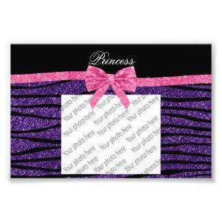 Princess purple glitter zebra stripes pink bow photograph