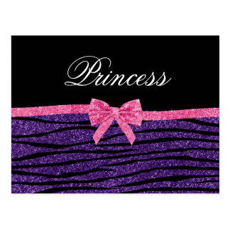 Princess purple glitter zebra stripes pink bow post card