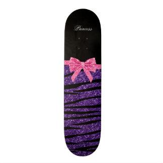 Princess purple glitter zebra stripes pink bow skateboard