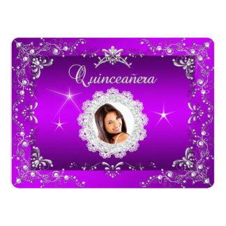 Princess Purple Magenta Quinceanera Silver Tiara 6.5x8.75 Paper Invitation Card