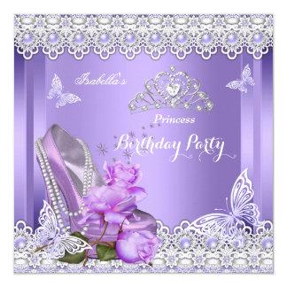 Princess Purple Pearls Rose High Heel Birthday Card