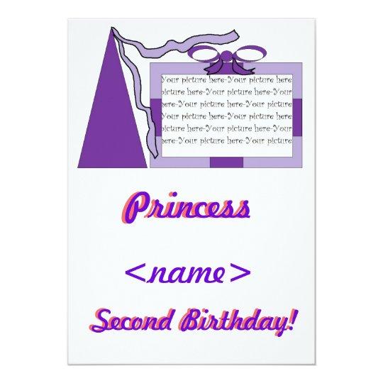 Princess Purple/Purple Hat Second Birthday Party I Card
