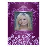 Princess Purple Rose Sweet16 Birthday Invite