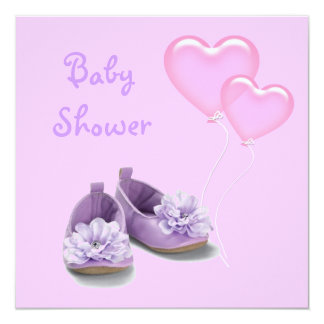 Princess Purple Shoes Girl Baby Shower Invitation