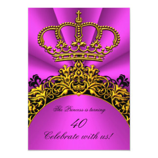 Princess Queen Gold Hot Pink Birthday Party Card
