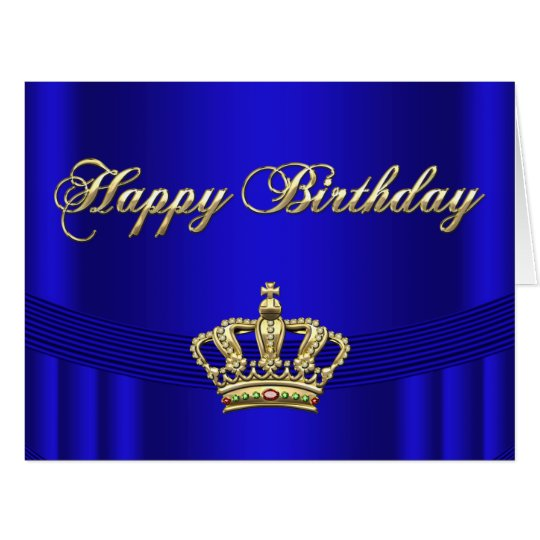 happy birthday crown template - princess queen royal blue and gold birthday cards