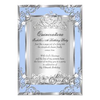 Superior Princess Quinceanera 15th Birthday Blue Silver Card
