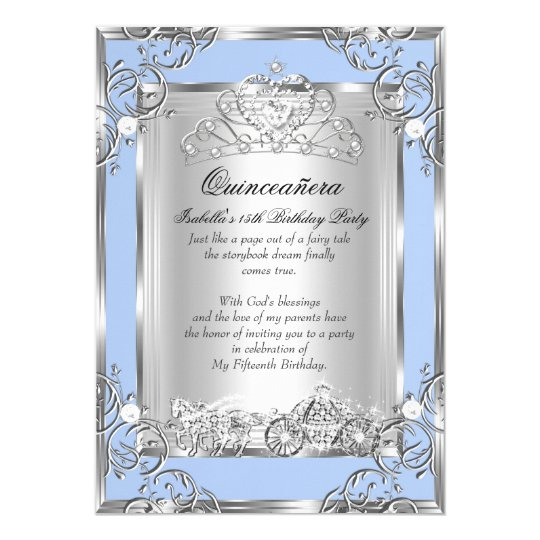 Quinceaera invitations zazzle princess quinceanera 15th birthday blue silver card stopboris Images