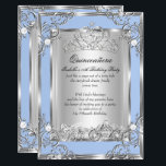 "Princess Quinceanera 15th Birthday Blue Silver Invitation<br><div class=""desc"">Cinderella Blue and Silver Magical Princess Quinceanera 15th Birthday Party. Silver White Floral Silver Tiara Silver White Lace frame. With Fairytale horse and carriage. Party Princess mis quince anos. Party for women or a girl. Invitation Formal Use for any event invitation. Customize with your own details and age. Template for...</div>"
