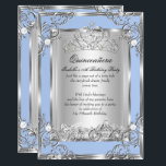 """Princess Quinceanera 15th Birthday Blue Silver Invitation<br><div class=""""desc"""">Cinderella Blue and Silver Magical Princess Quinceanera 15th Birthday Party. Silver White Floral Silver Tiara Silver White Lace frame. With Fairytale horse and carriage. Party Princess mis quince anos. Party for women or a girl. Invitation Formal Use for any event invitation. Customize with your own details and age. Template for...</div>"""
