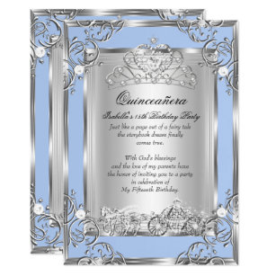 fcaca22f374 Princess Quinceanera 15th Birthday Blue Silver Invitation