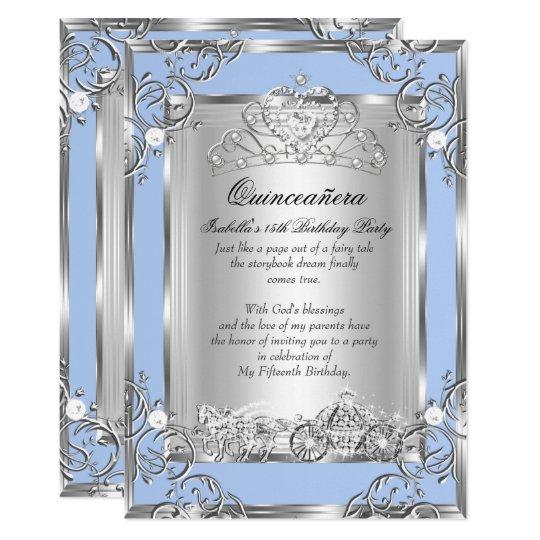 princess quinceanera 15th birthday blue silver invitation zazzle com
