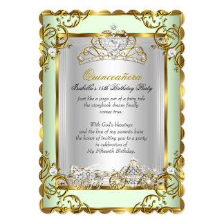 Princess Quinceanera 15th Birthday Mint Green 5x7 Paper Invitation Card