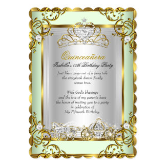 Princess Quinceanera 15th Birthday Mint Green 5x7 Paper Invitation Card