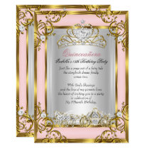 Princess Quinceanera 15th Birthday Pink Peach Card